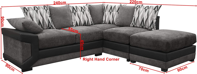 Louisiana Large Corner Sofa Suite Black Grey Right Amazon Co Uk Kitchen Home