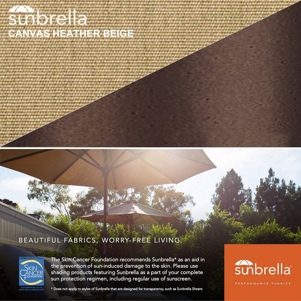 EliteShade Sunbrella 9Ft Market Umbrella Patio Outdoor Table Umbrella with Ventilation (Sunbrella Heather Beige) by EliteShade (Image #4)