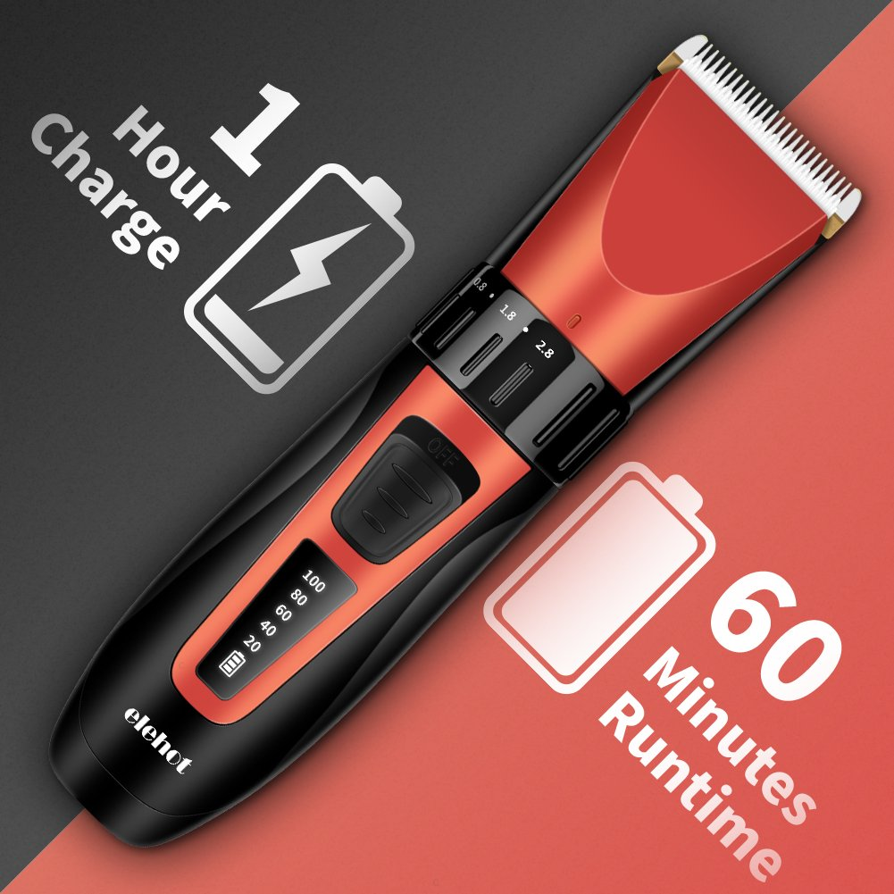ELEHOT Hair Clipper Trimmer Cordless Cutting Grooming Kit with LCD Display,Two Rechargeable & Replaceable Batteries,Stainless Steel Blades for Men & Women by ELEHOT (Image #4)