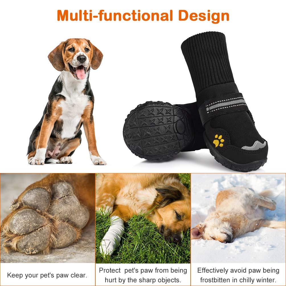 Petacc Zapatos Antideslizantes para Perros Zapatos Transpirables para  Mascotas Protector de la Pata de Perro Resistente al Desgaste  (Negro ... 02cda2662e5