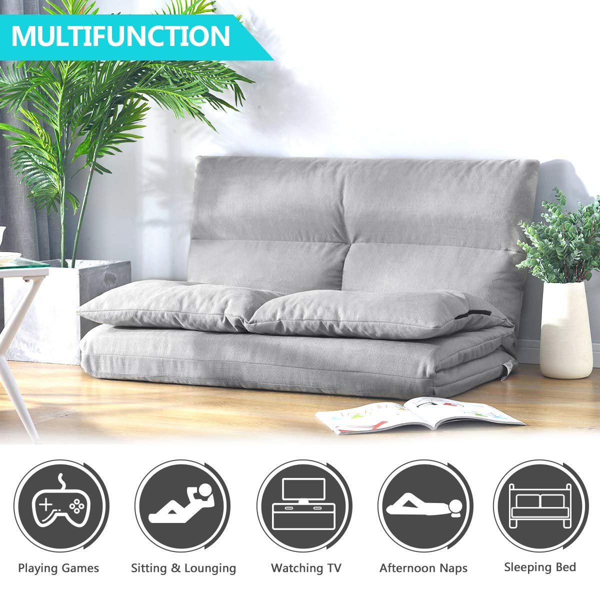 Merax PP036318AAA Foldable Floor Couch and Sofa for Living Room and Bedroom, Gray