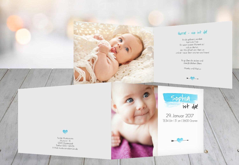 Kartenparadies Geburtskarte Babykarte Aquarell, hochwertige Babykarte zur Geburt inklusive Umschläge   10 Karten - (Format  148x105 mm) Farbe  Hellblauleuchtend B01N6WVTZW | Hohe Sicherheit  | Niedriger Preis  | Sale Online Shop