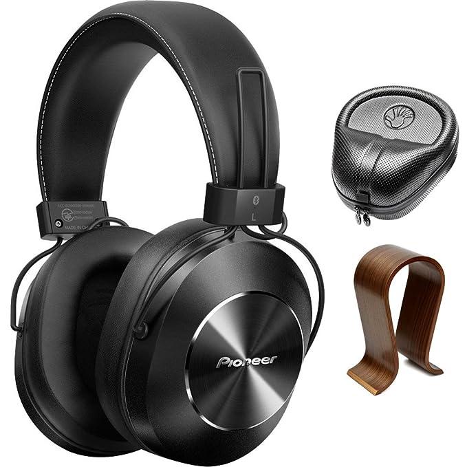 Pioneer estéreo inalámbrico Bluetooth over-ear auriculares negro (se-ms7bt-k) con Slappa HardBody PRO auriculares de tamaño completo caso negro y universal ...