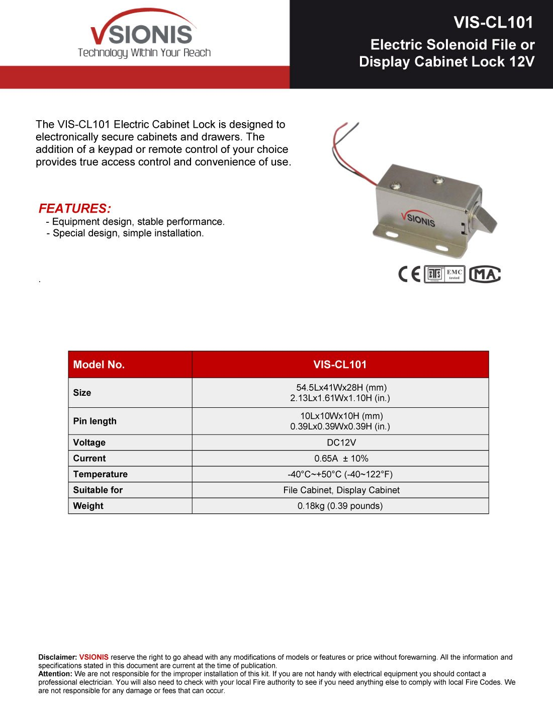 FPC-5397 Visionis VIS-CL101 Electric Solenoid File or Display Cabinet Lock 12v with Power Supply