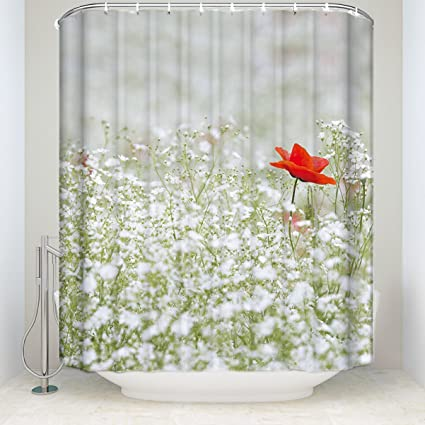 Spring Shower Curtain SetFlowers And One Red Flower Decor Fabric Bathroom Set