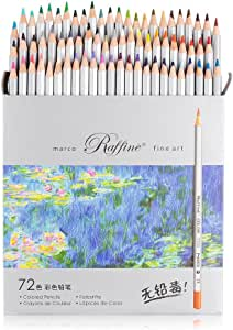 Marco Raffine Fine 72 Colors Art Drawing Pencil 7100-72CB Set ASTM Wooden Writing Painting Artist Sketching Craft Doodling Designs and Creativity Colorful Blessings Cards