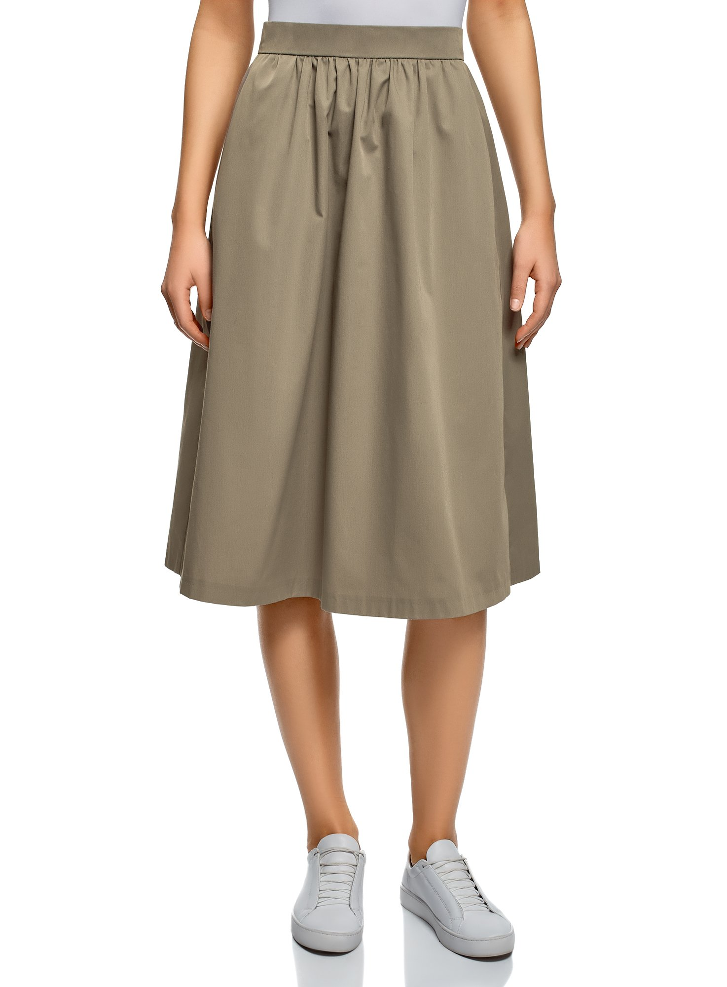oodji Ultra Women's A-Line Midi Skirt, Green, 8