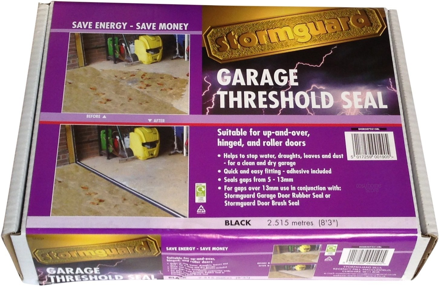 Stormguard 04sr5072515bl 2515mm Garage Floor Threshold Seal Black