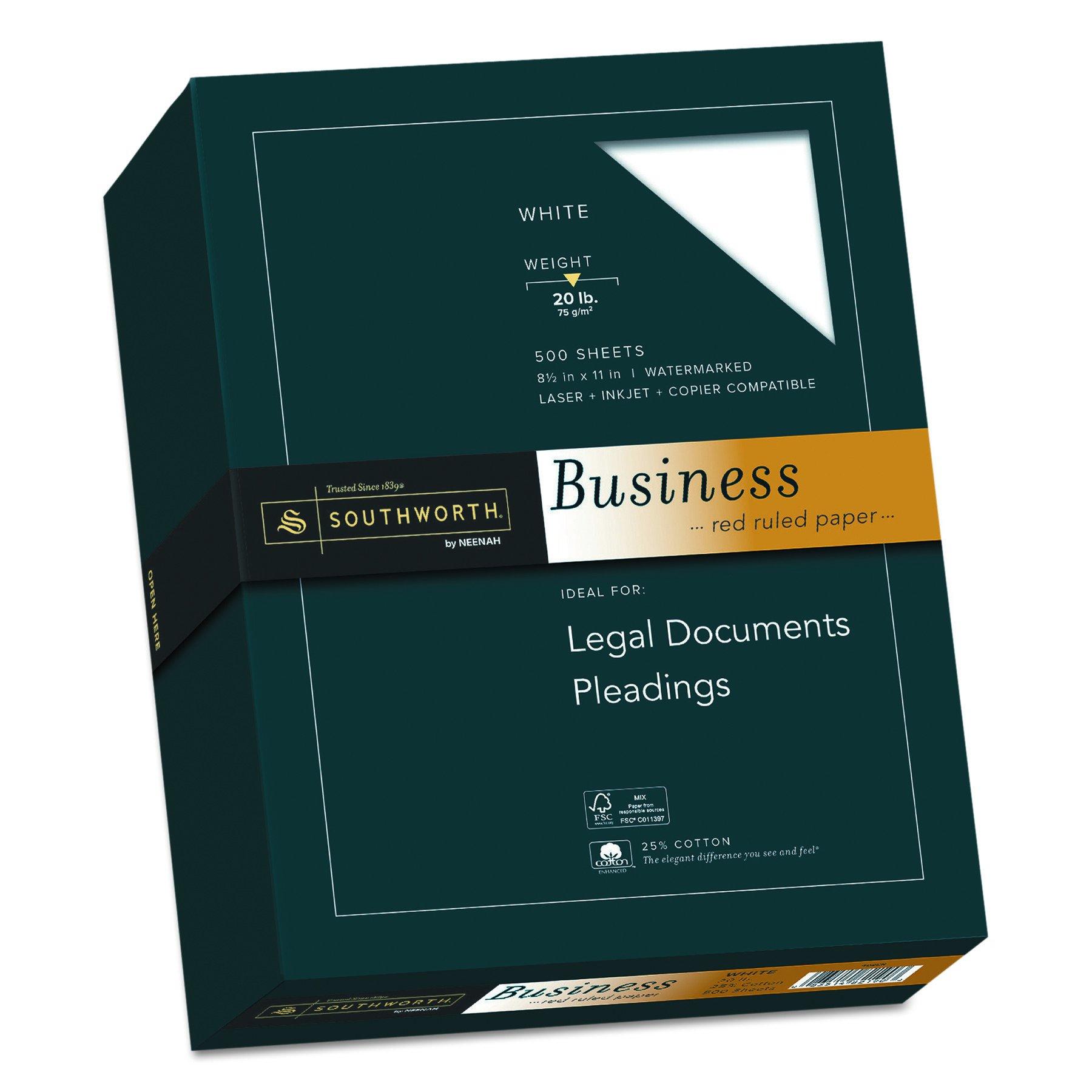 Southworth 25% Cotton Ruled Business Paper, 8.5 x 11 Inches, 20 lb, White, 500 per Box (403CR)