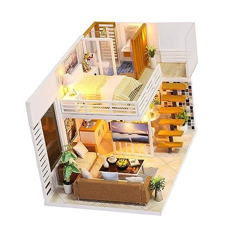 Amazon.com: Fityle DIY Loft Apartments Dollhouse Wooden LED ...