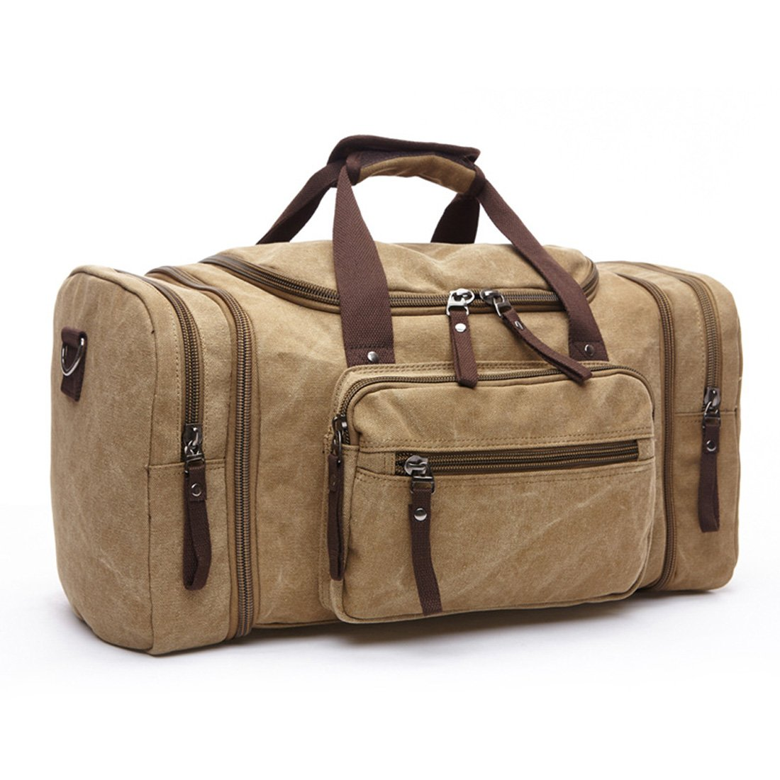 MAGE MALE Travel Overnight Bag Canvas Duffle Weekender Bag with Strap