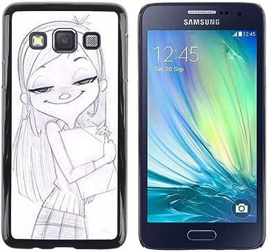 Opción de regalo/Slim carcasa SmartPhone de móvil para Samsung Galaxy A3 // Chica de dibujo lápices acuareables Rubio //: Amazon.es: Electrónica