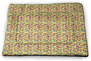 DayDayFun Colorful Pet Mat for Kennel Pattern with Circles in Watercolor Style Blots with Grunge Look Funky Artful Image Machine Washable Pet Bed Liner Multicolor