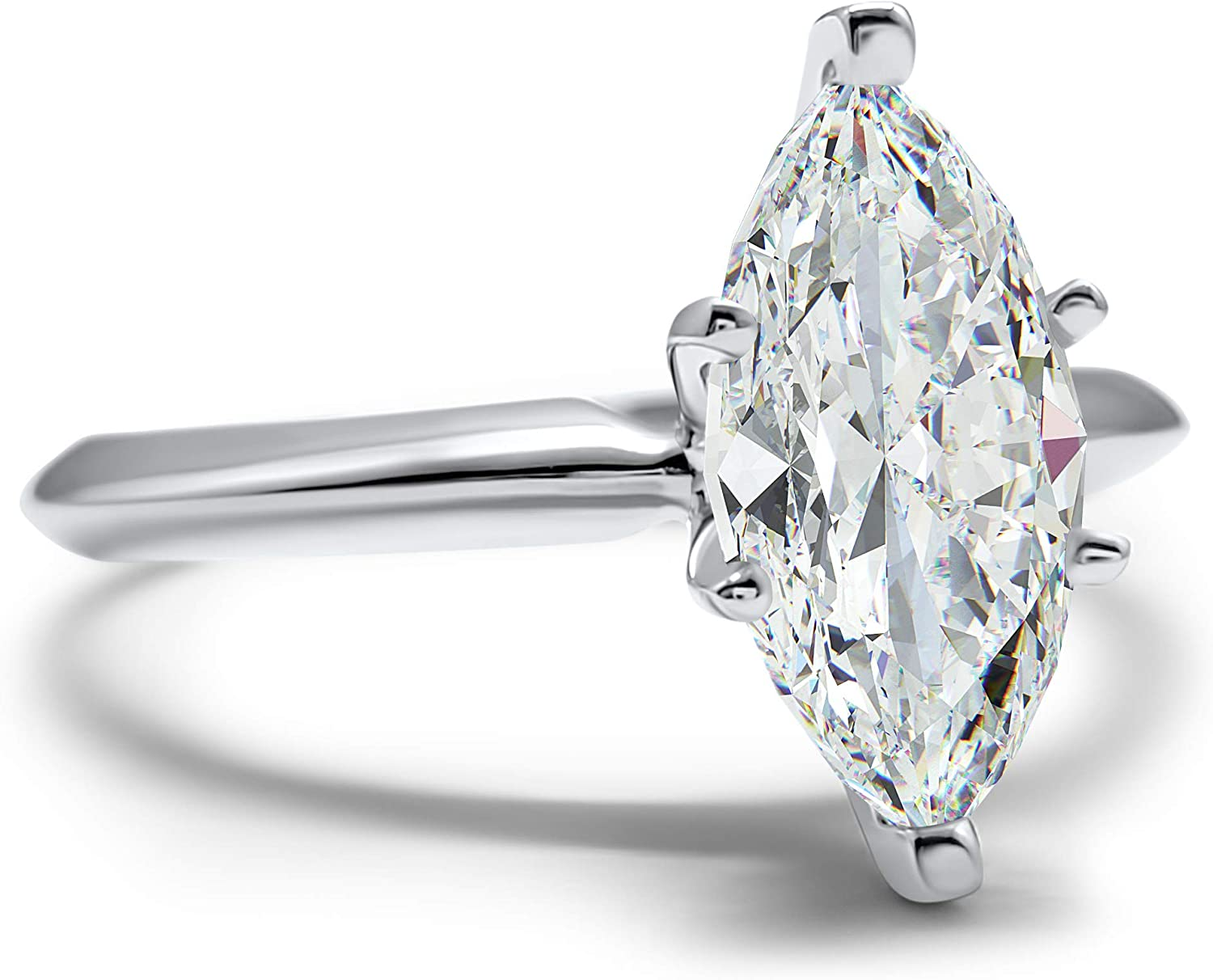 Eternal Jewelry CZ Ring Marquise White Gold Wedding Engagement Band 14k Cubic Zirconia Solitaire 3ct