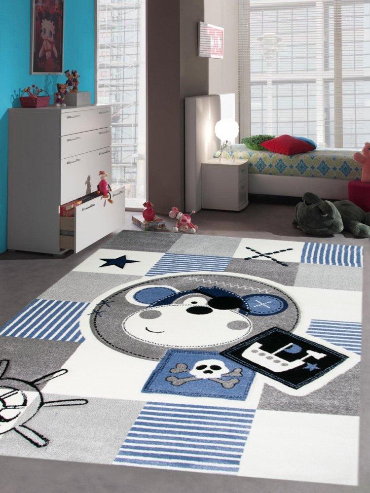 Kinderteppich Spielteppich Teppich Kinderzimmer Babyteppich Pirat Affe in Blau Gr/ö/ße 80 cm Rund
