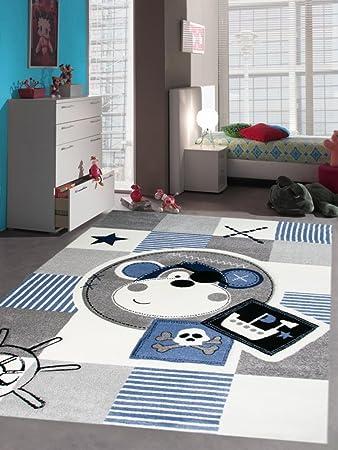 Carpetia Teppich Kinderzimmer Babyzimmer Jungen Affe Pirat blau crème grau  schwarz Größe 140x200 cm