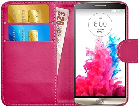 G-Shield Funda para LG G3, Carcasa de Cuero con Ranuras para Tarjetas, Rosa