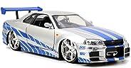Jada Toys Fast & Furious Brian's 2002 Nissan Skyline R34 Die-cast Car, 1:24 Scale, Silver & Blue