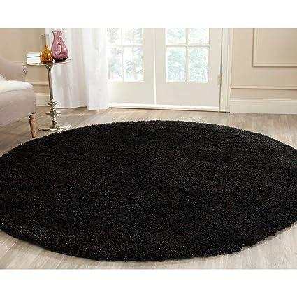 a41991cf6e7 Amazon.com  UK4 4' Round Black Plush Solid Theme Area Rug