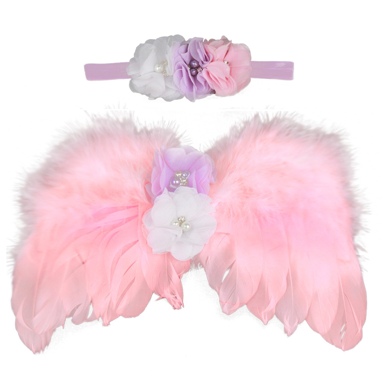 Elisona-Lovely Imitation Angel Wings Newborn Baby Photography Props Costume Clothing with Headband Unisex for Baby Girls Boys Multi-flower Style