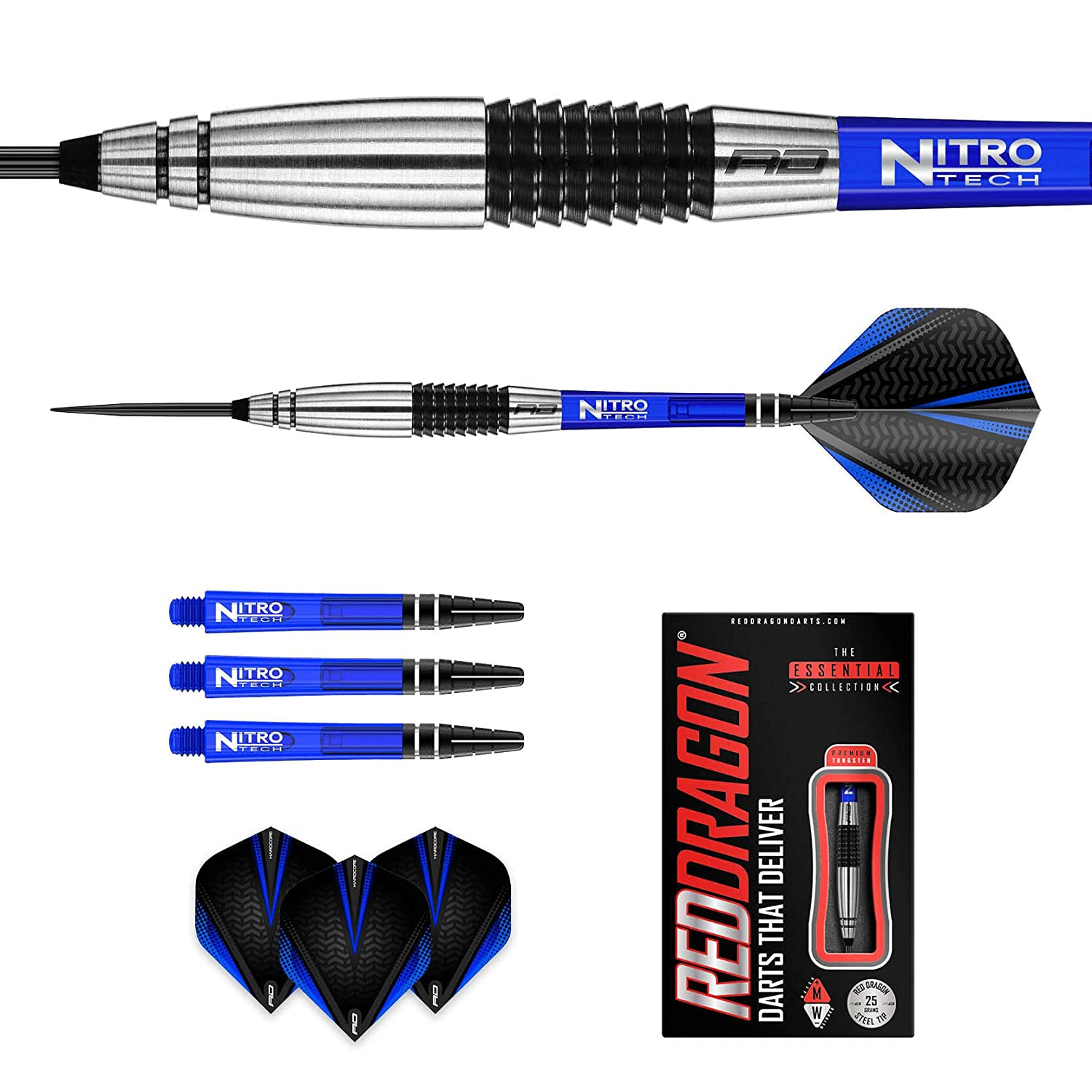 Red Dragon Cyclone Tungsten Darts with Flights and Stems