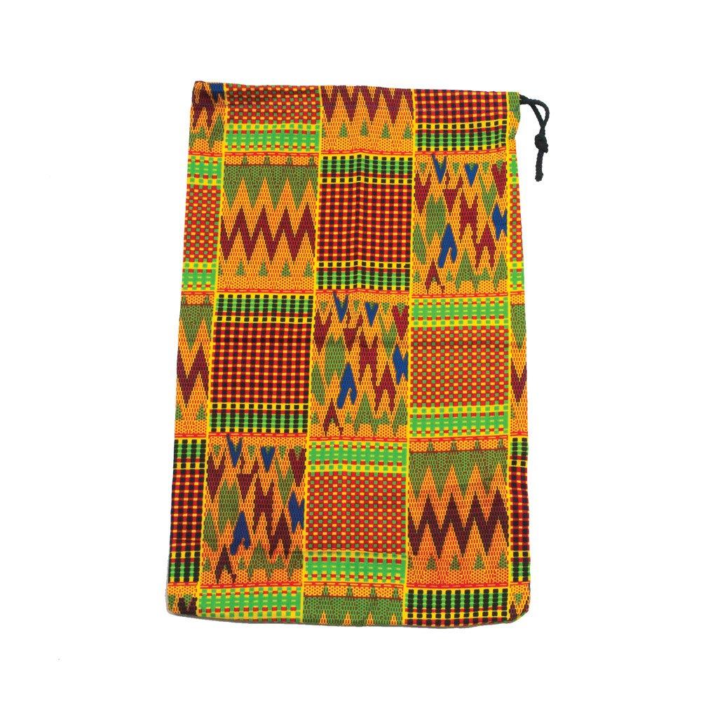 Kinte Pattern Drawstring Cloth Bag (10.75x16.5in; Blue/Green) Westco