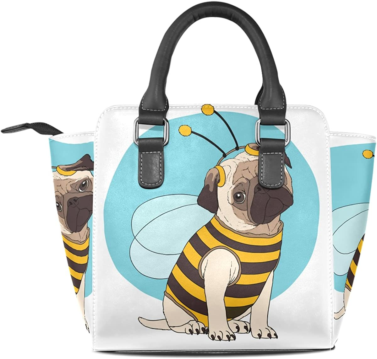Cool Dog Cartoon Leather Handbags Purses Shoulder Tote Satchel Bags Womens