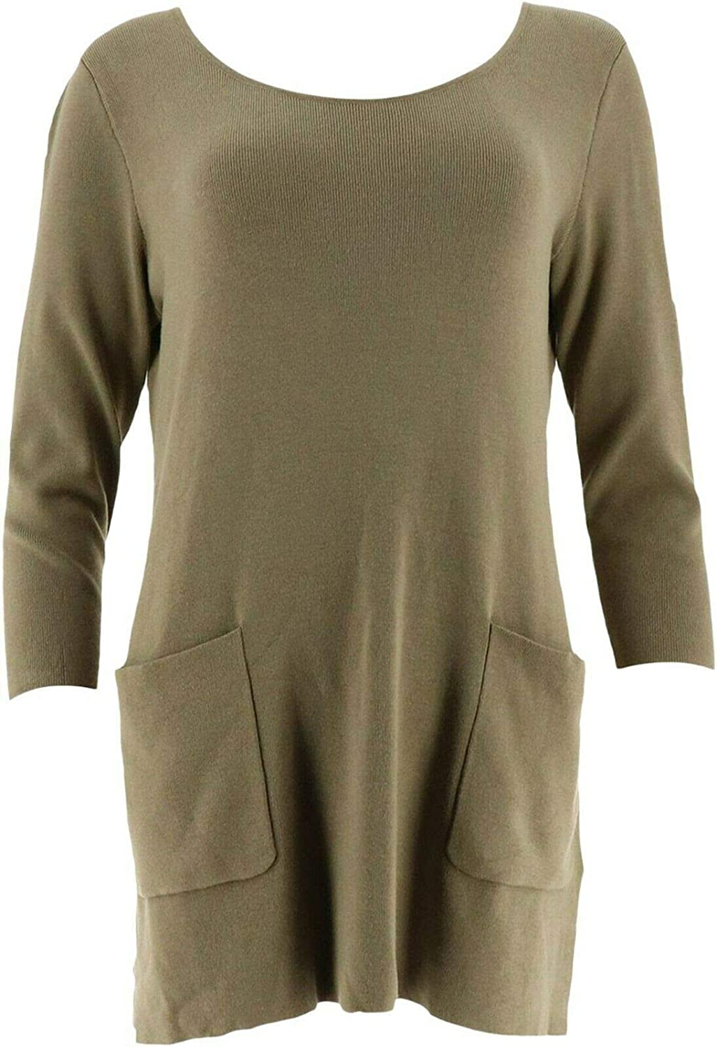 Linea Louis Dell'Olio Whisper Knit Sweater Pockets New A302563