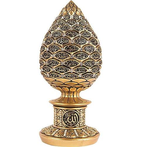 Islamic Table Decor Gold Egg Sculpture Figure Arabic 99 Names of Allah ESMA Asma al Husna Gold, 7.5in