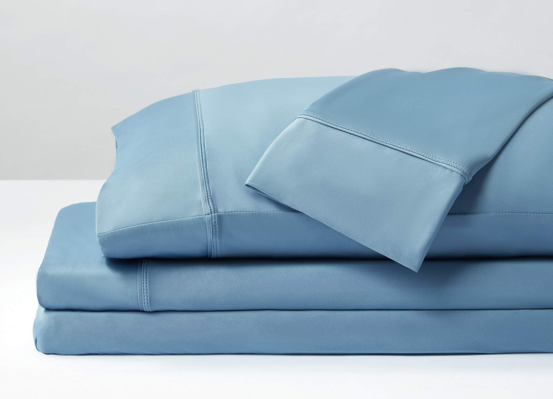 SHEEX Original Performance Sheet Set with 2 Pillowcases, Ultra-Soft Fabric, Carolina Blue, Queen by SHEEX