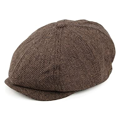 aa8757cbc4d0f Brixton Hats Brood Newsboy Cap - Brown/Khaki Herringbone: Amazon.co ...