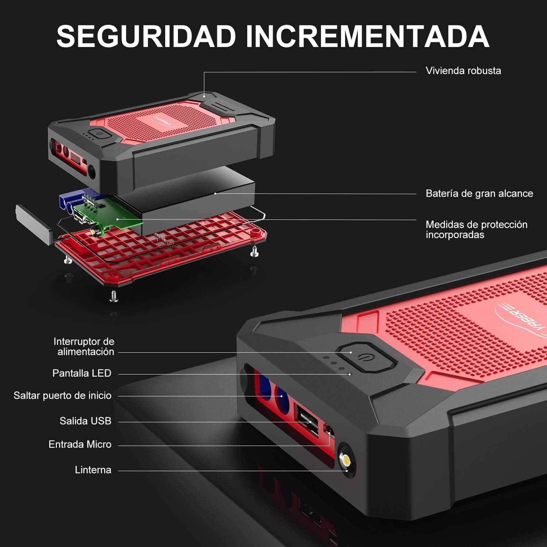YABER Starthilfe Powerbank Upgrade 800A Spitzstrom 12000mAh Tragbare Auto Starthilfe mit LED Taschenlampe,IP66 Wasserdicht