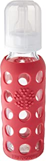 product image for Lifefactory 9 Ounce Baby Bottle (SET OF TWO), color = Raspberry