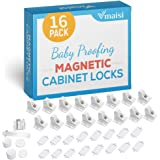 16 Pack Child Safety Magnetic Cabinet Locks - Vmaisi Children Proof Cupboard Baby Locks Latches - Adhesive for Cabinets & Dra