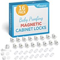 Child Safety Magnetic Cabinet Locks - 16 Pack Children Proof Cupboard Baby Locks Latches - Adhesive for Cabinets…