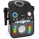 auna StarMaker Chaîne karaoké Bluetooth avec lecteur CD (8 LED multicolores, 2 micros inclus, effet lumineux multicolore LED) - noir