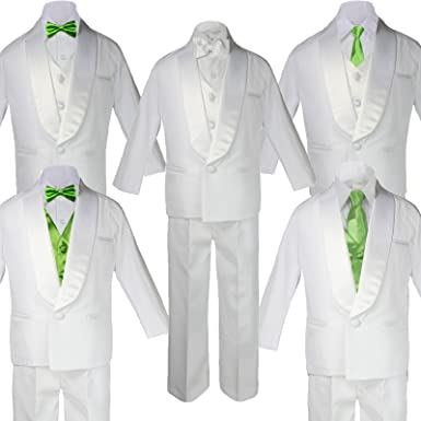 5-7pc Boys White Satin Shawl Lapel Suits Tuxedo BLACK Satin Bow Necktie Vest Set