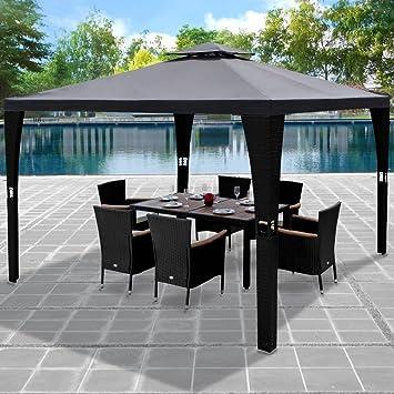 Turbo Deuba® Pavillon 3x3m Anthrazit Polyrattan Festzelt Partyzelt FP91