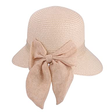 aa1d95cc907 Bowknot Casual Straw Hat Womens Summer Sun Beach Straw Hat UPF 50+ Travel  Package Floppy Caps (9220 Beige)  Amazon.co.uk  Clothing