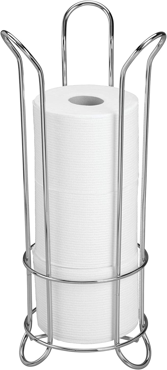 iDesign Orbinni Metal Toilet Tissue Roll Reserve for Bathroom Compact Squiggle