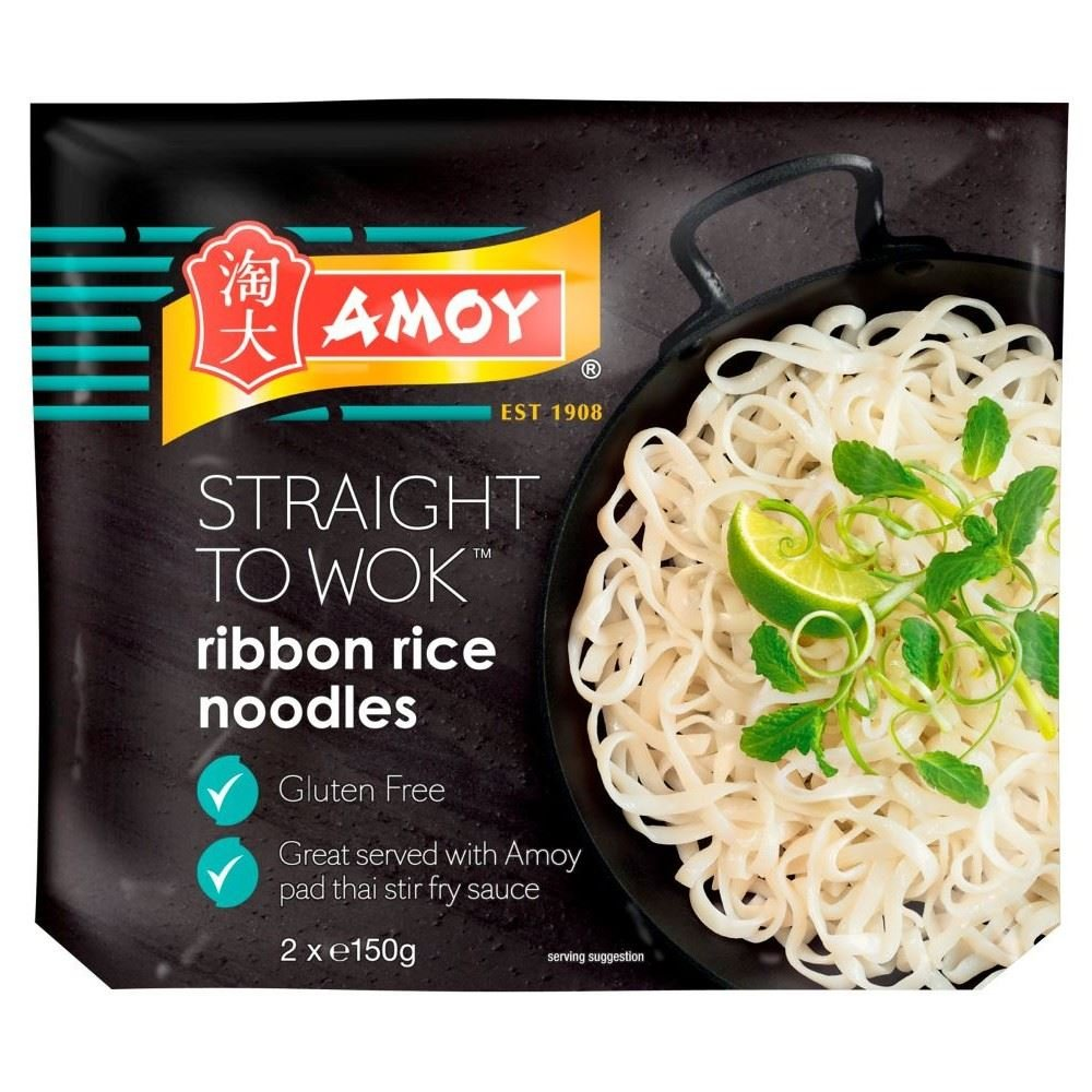 Amoy Straight to Wok Ribbon Rice Noodles (2 per pack - 300g) - Pack of 2 by Amoy