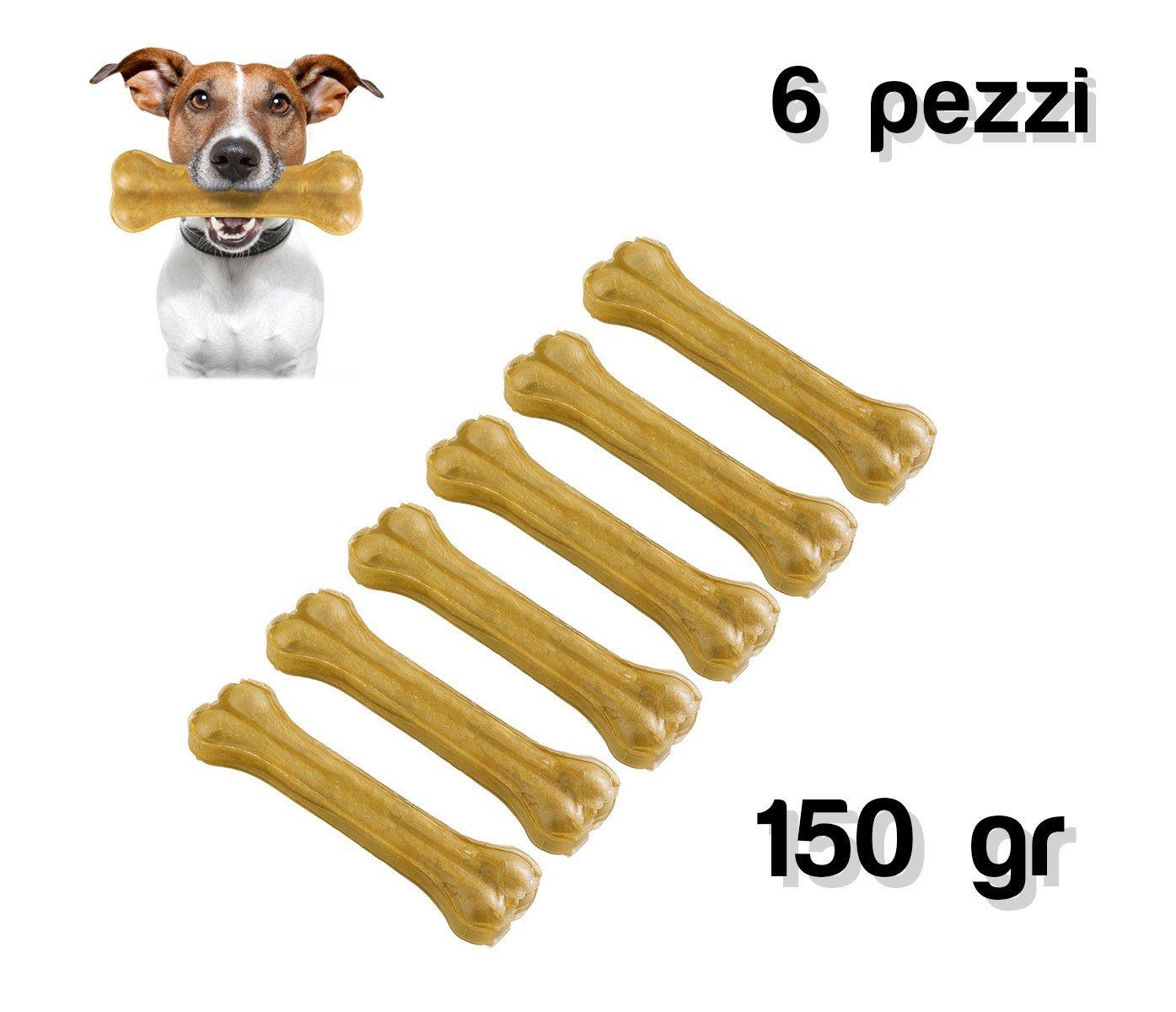 MEDIA WAVE store Delizioso snack 6 pz per cani di piccola e media taglia a forma di osso in 100/% pelle di maiale antistress