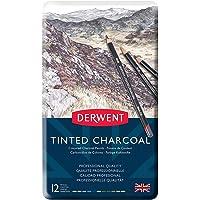Derwent Tınted Charcoal Renkli Füzen Kalem - 12 Renk Metal Kutulu
