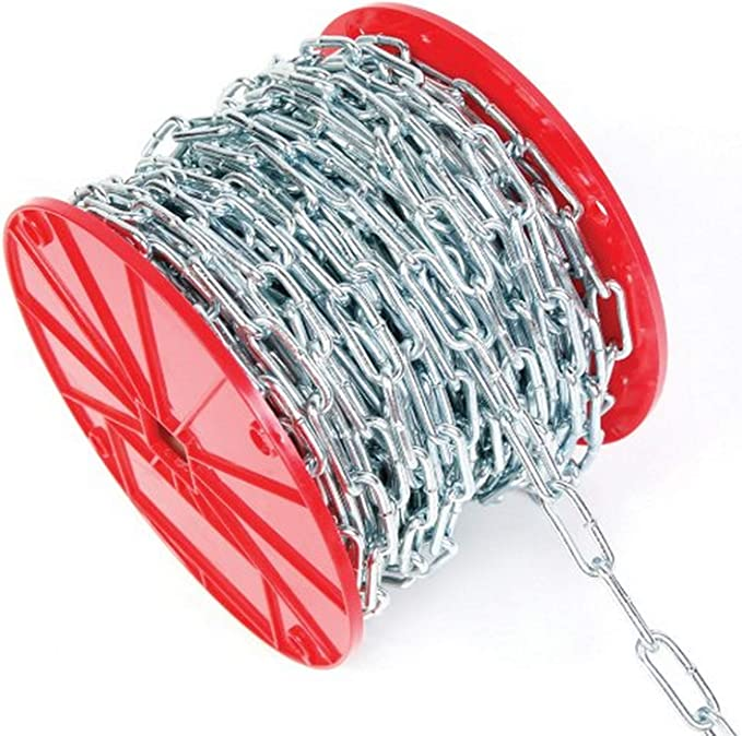 225 Length 0.18 Diameter 2//0 Trade Zinc Plated Campbell 0332426 Low Carbon Steel Straight Link Coil Chain in Square Pail 520 lbs Load Capacity
