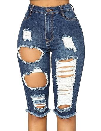 998ac5acef GRAPENT Women s Ripped Washed Raw Hem Knee Length Denim Bermuda Shorts Jeans  Dark Blue Size Small