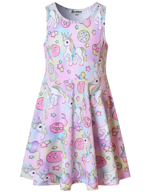 Sleeveless Unicorn Dresses Little Girls 6 7 Kids Summer Swing Doughnut Clothes