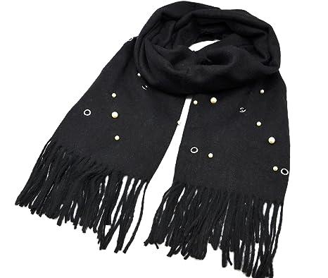 écharpe noire laine longue   Aqualogia 123464a44da