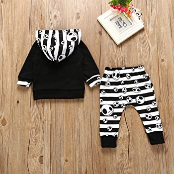 12baaa315 Infant Baby Toddler Boys Girls Halloween Costume Outfits Clothes Set Long  Sleeve Hoodie Striped Tops +Pants 0-2T