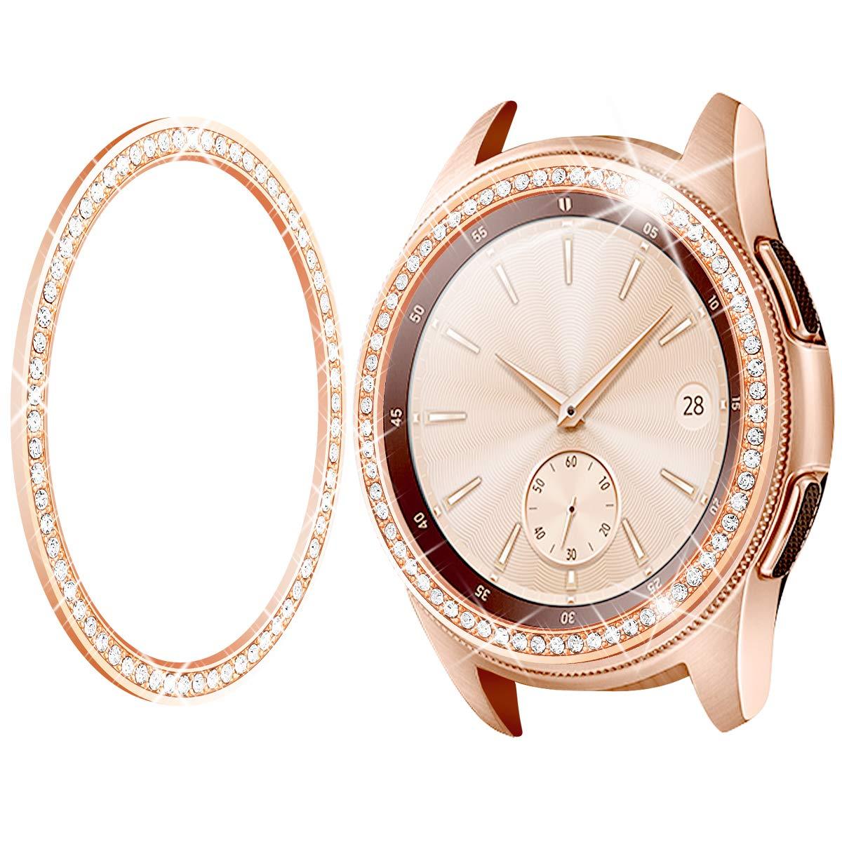 Goton Jewelry Bezel Ring Compatible Samsung Galaxy Watch 42mm Bezel, Gear Sport, Crystal Bling Diamond Women Men Watch Bezel Cover Protector (42mm, Rose Gold) by Goton
