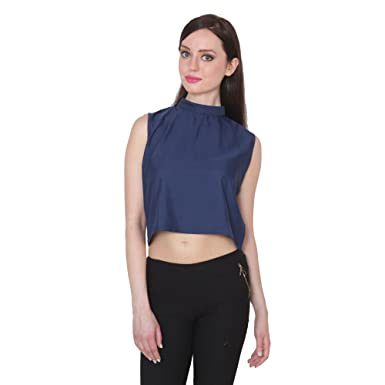 bc73bedca234d9 Fabrizia Women S Designer Solid Pattern Navy Blue Crepe High Neck Crop Top   Amazon.in  Clothing   Accessories